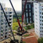 Tecnologia faz prédio de 10 andares ser montado em um único dia